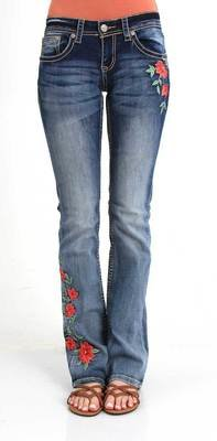 Red Floral Bootcut Jeans