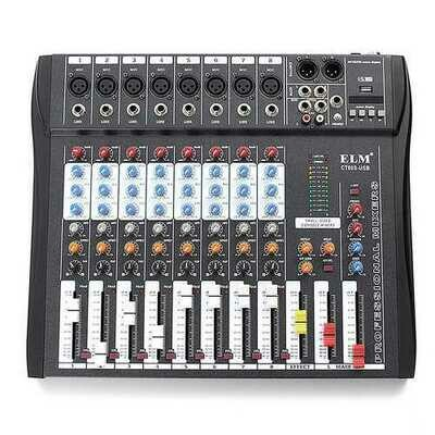 EL M CT80S 8 Channel Live Studio 48V Phantom Audio Mixer Mixing Console for DJ KTV Karaoke