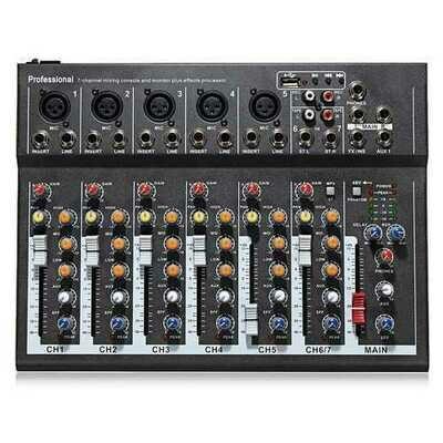 EL MPortable 7 Channel Professional Live Studio Audio Mixer USB Mixing Console KTV DJ Karaoke