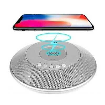 8 in 1 bluetooth Speaker 2000mAh QI Wireless Charge FM NFC Alarm Clock Charging Pad Subwoofer