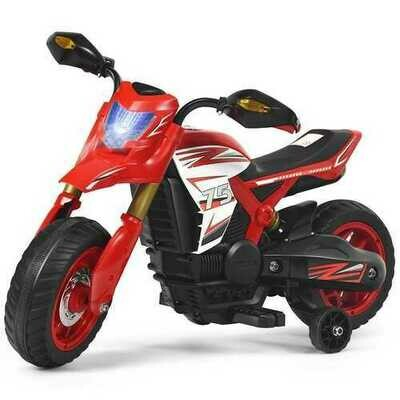 6V Electric Kids Ride-On Battery Motorcycle with Training Wheels -Red