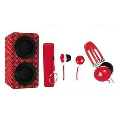 Naxa Portable Bluetooth & Stereo Speakers Entertainment Pack-Red