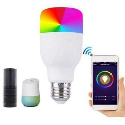 E27 7W Dimmable RGBW WIFI APP Control LED Smart Light Bulb for Alexa Google Home AC85-265V