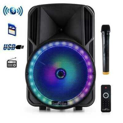 beFree Sound 12 Inch PA Bluetooth Rechargeable Portable Party Speaker with Reactive LED Lights