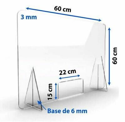 Mampara De Protección Acrílico Mostrador 60x60cm Estetica 3mm