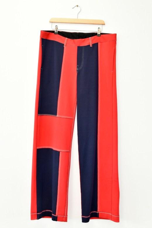 PANTS - RED MULTI COLOUR - PATCHWORK D. JERSEY