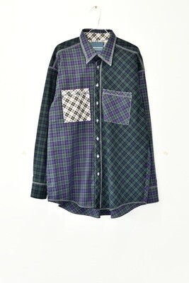SHIRT - CHECKS - IRREGULAR CUT PATCHWORK
