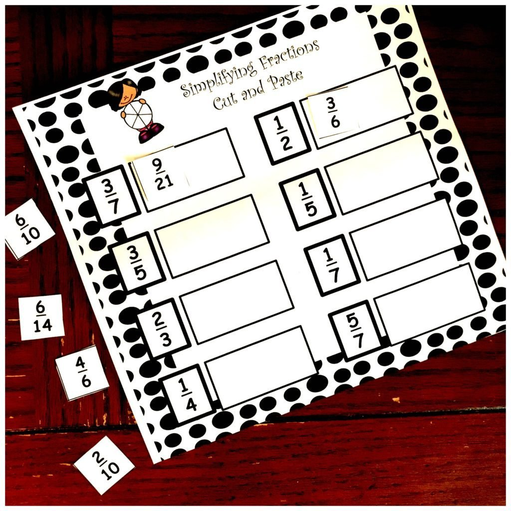 Simplifying Fractions Cut and Paste