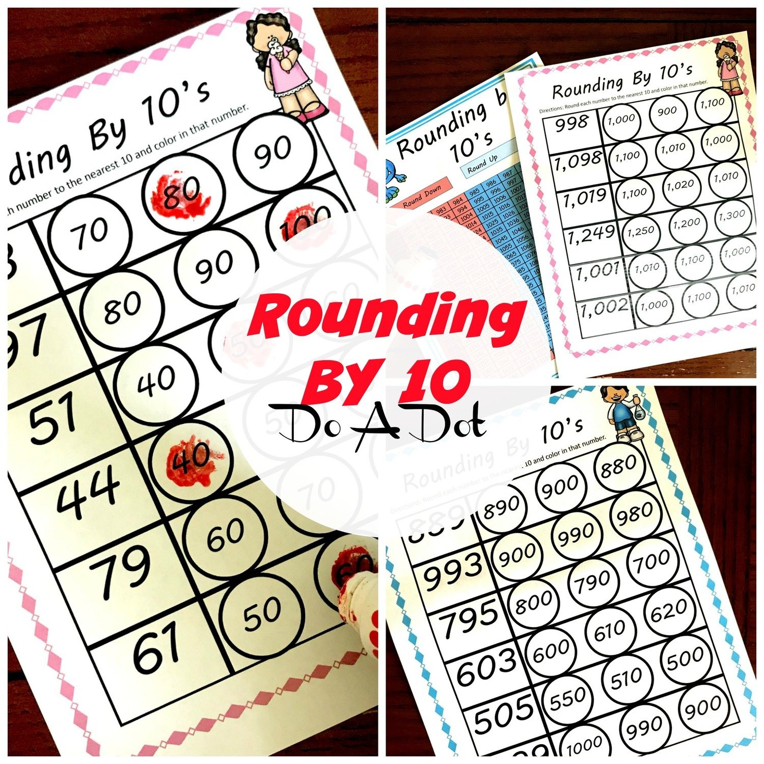 Rounding By 10 Do A Dot Worksheets