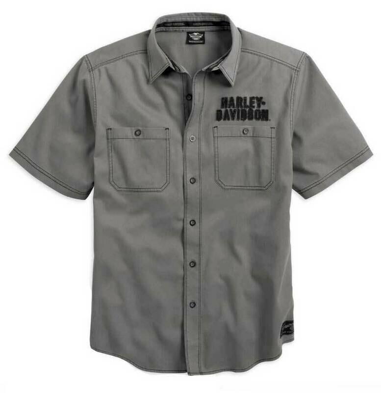 Chemise à Manches Courtes pour Homme Harley-Davidson® Classique Style Garage avec Aigle au dos Coton Gris 99003-14VM