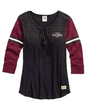 Chandail à Manches 3/4 pour Femme Harley-Davidson® Coton Noir & Rouge 96101-17VW