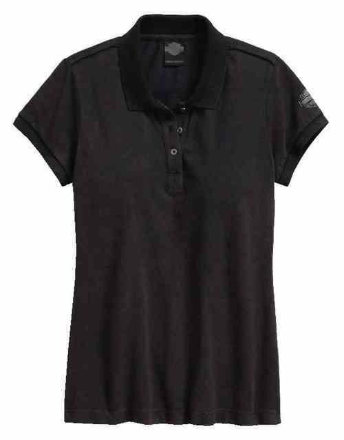 T-shirt style polo à manches courtes pour Femme Harley-Davidson® noir délavé 96094-17VW