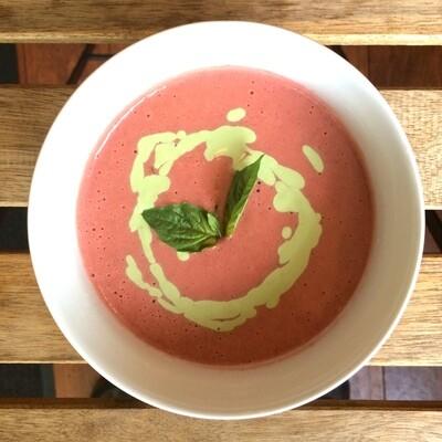 Roasted Strawberry Gazpacho with Basil Cashew Crema