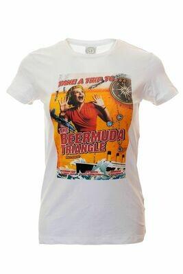 Moorings Bar Retro Ladies T-Shirt / Tee - 'Take A Trip To... The Beermuda Triangle'