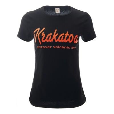 Krakatoa UV Reactive Ink Tiki Dive Bar Ladies T-Shirt / Tee  - 'Krakatoa / Discover Volcanic Tiki'