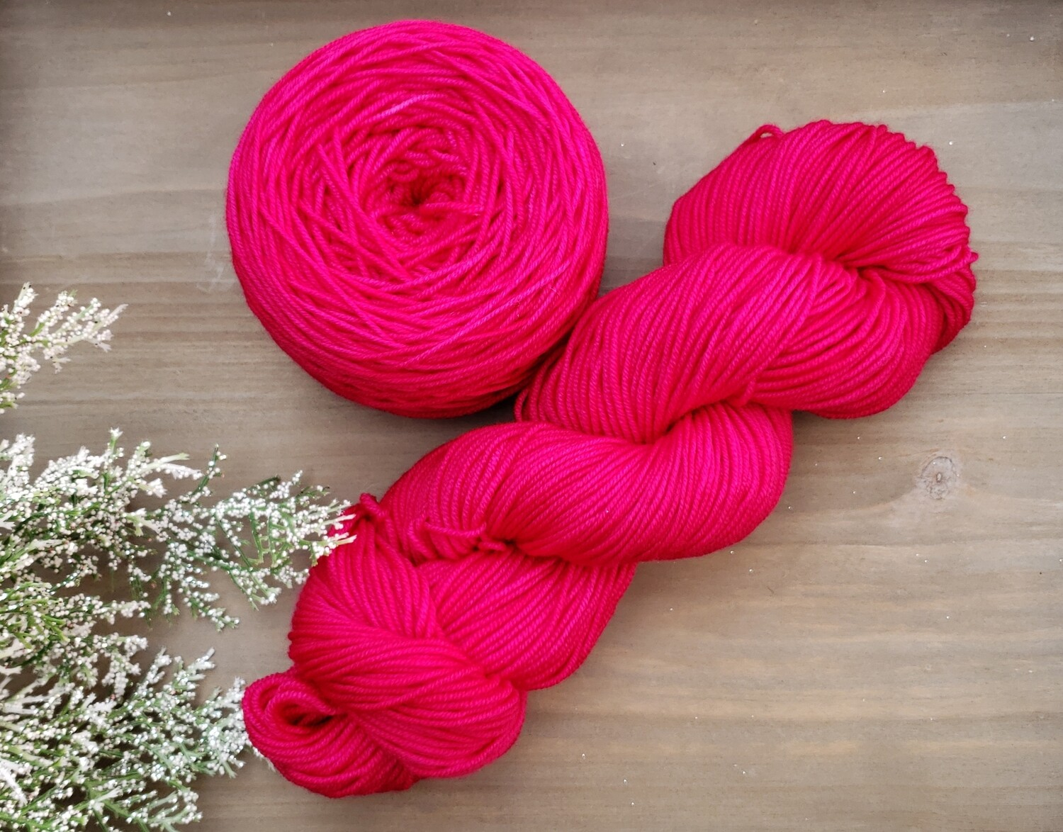 Magenta Pink Hand Dyed Yarn