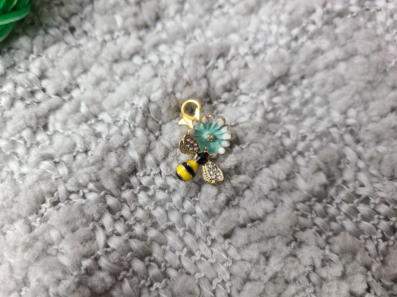 Blue Flower with Bee Stitch Marker Set