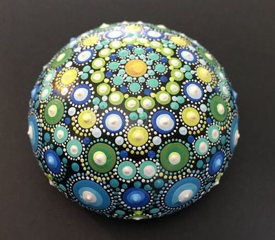 Blue-Green Dot Mandala Hand-Made rock