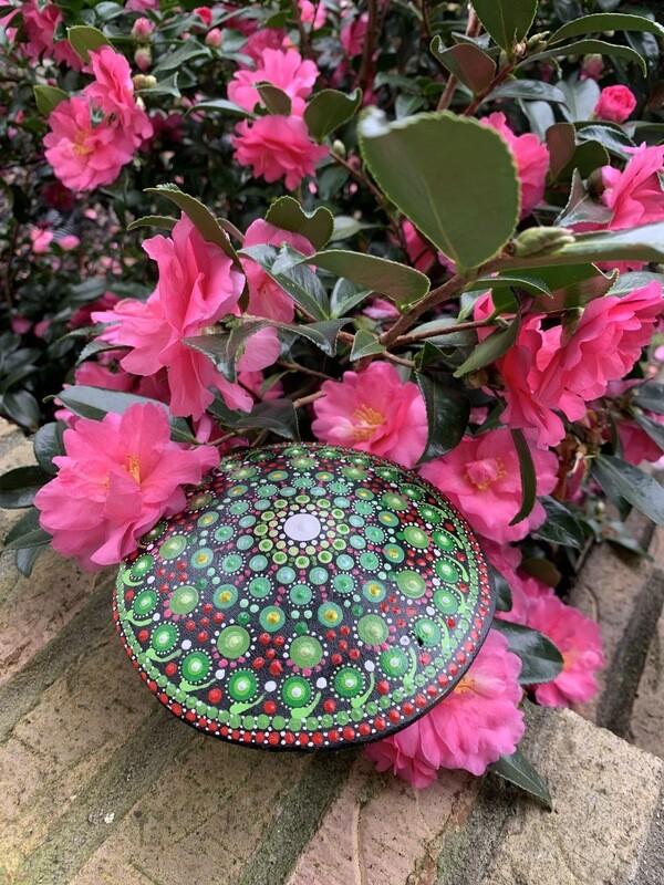 Mandala Art on Wood Mushroom