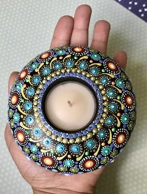Dot Mandala Tea Candle Handmade