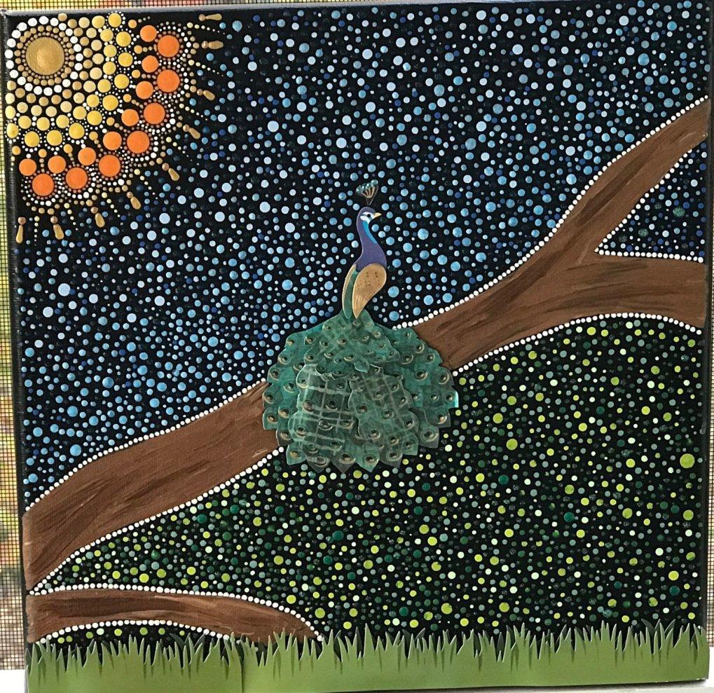 Mandala Peacock Mixed Media Painting