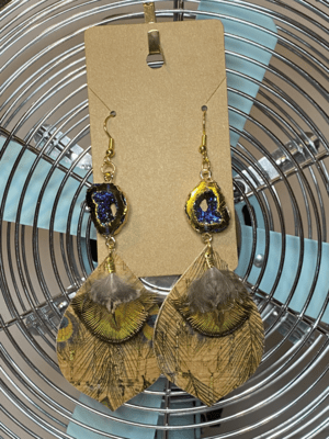 Peacock dangle with feather and druzy