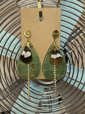 Wooden Camo with 9mm slices, real feathers, and bling!
