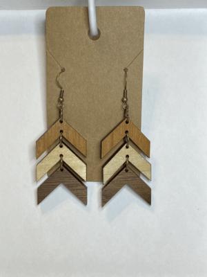 Tri-Color Wood Chevron Dangle