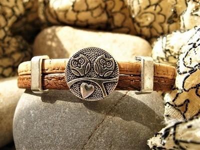 Guardian owl bracelet ~ two-tone cork