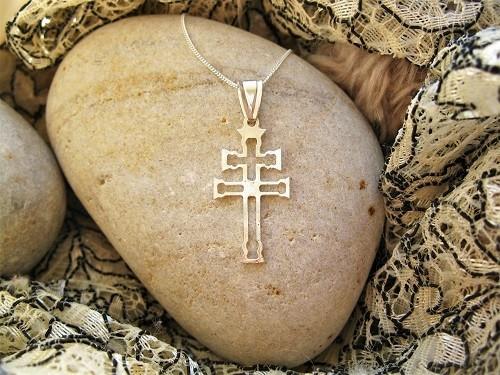 Caravaca cross necklace ~ slim open, silver