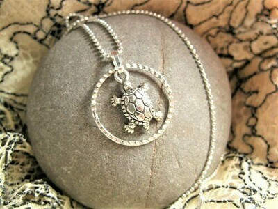 Lucky turtle necklace ~ in silver ring, for tranquility and New Beginnings