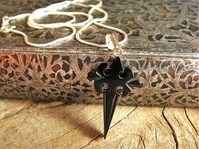 Santiago  Camino cross necklace ~ hand-carved jet