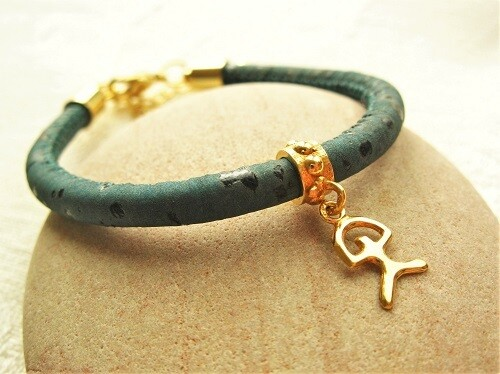 Gold-filled Indalo bead bracelet ~ 3mm on cork-cord