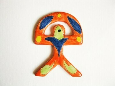 Spanish ceramic Indalo Man talisman ~ ORANGE