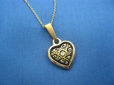 Damascene heart necklace ~ small gold