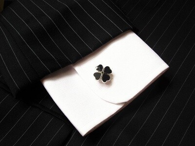 Four leaf clover cufflinks ~ black, to help ward off misfortune