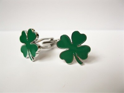 Four leaf clover cufflinks ~ dark green, for luck against adversity
