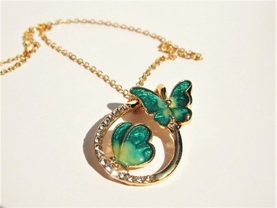 Butterfly necklace ~ rhinestone teardrop, Be the Change