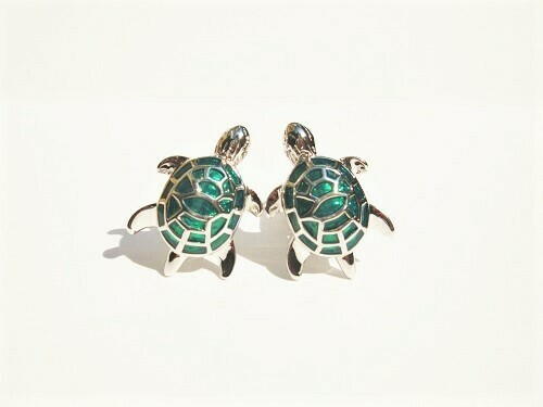 Lucky turtle cufflinks ~ green, to say Relax, Say Calm