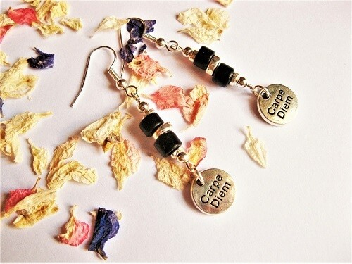 Carpe Diem charm earrings gift to say Don't Worry