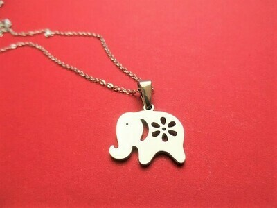 Lucky elephant necklace ~ steel