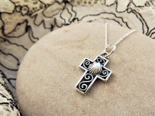 Filigree cross with scallop shell ~ small, silver