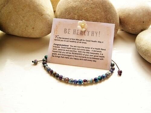 Health Band bracelet to wish Good Health ~ blue + purple stone
