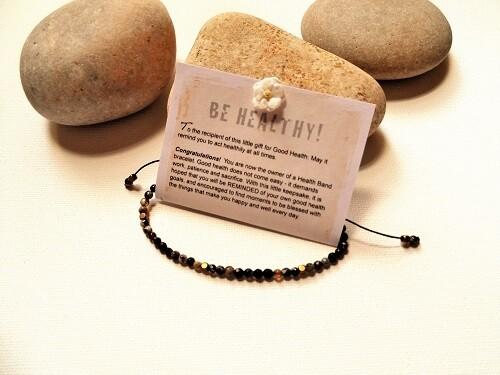 Health Bands - bracelet to wish Good Health ~ black stone