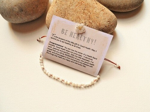 Health Band bracelet to wish Good Health ~ white stone