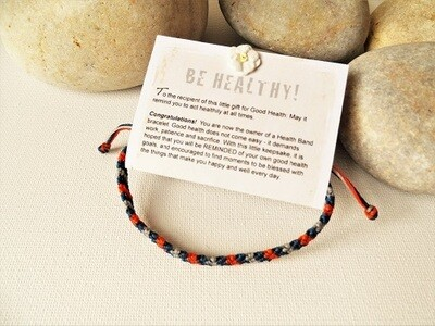 Health bracelet - Band to wish Good Health ~ Orange/Blue