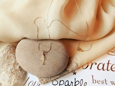 Caravaca Cross necklace ~ 18ct Gold, mini