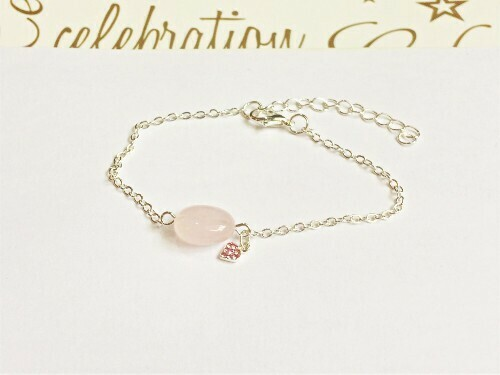 Rose quartz bracelet + CZ heart