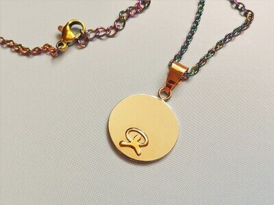 Indalo wellness symbol necklace, 18ct gold on stainless-steel disc