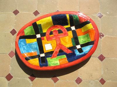 Spanish ceramic platter ~ Indalo, lineas
